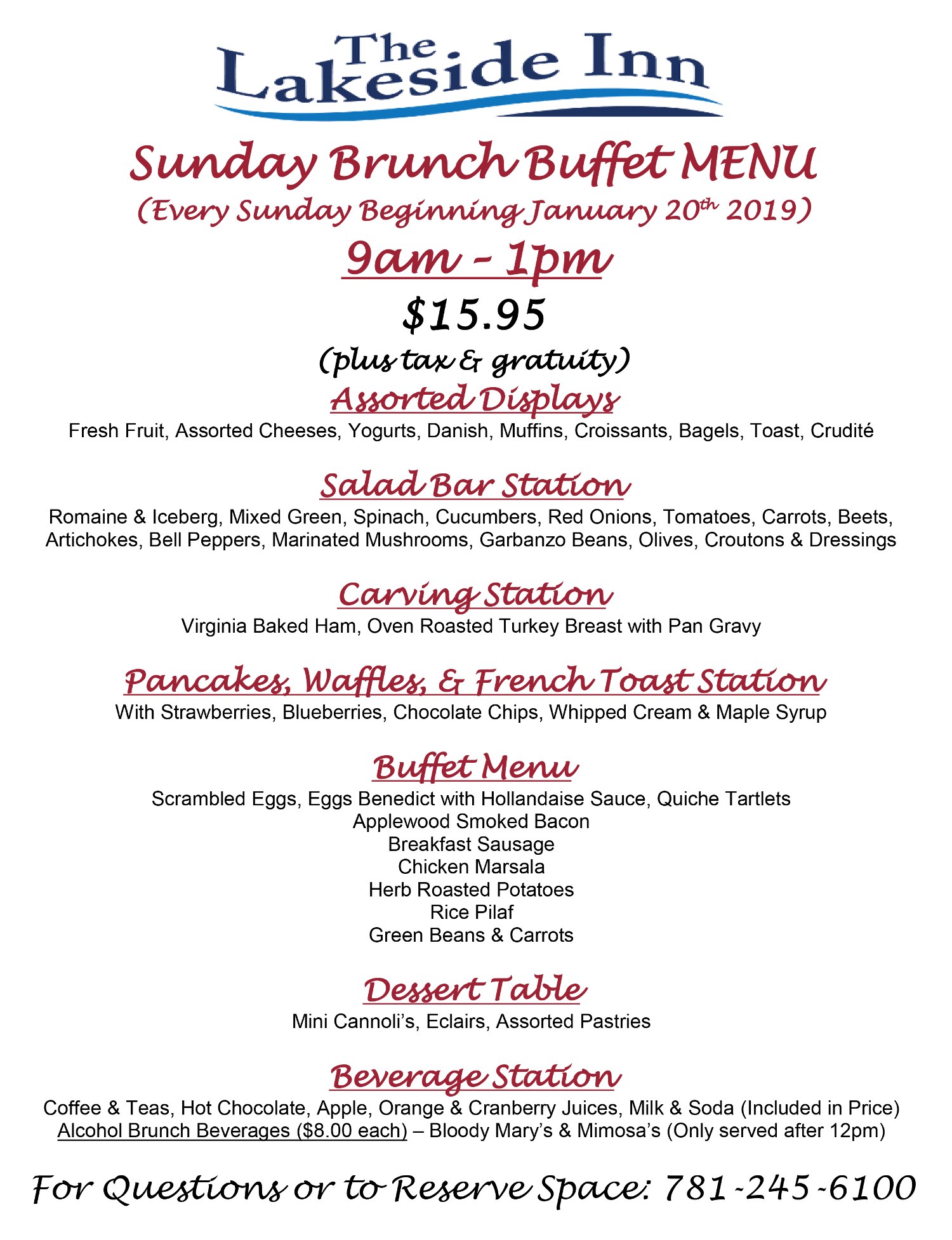 Sunday Brunch Buffet Menu